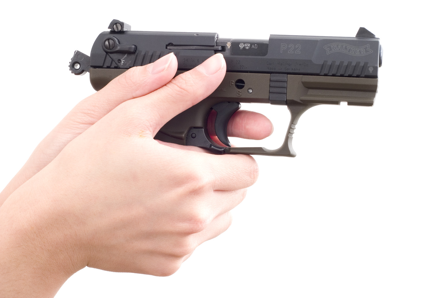 Walther P22, good fit for small hands.
