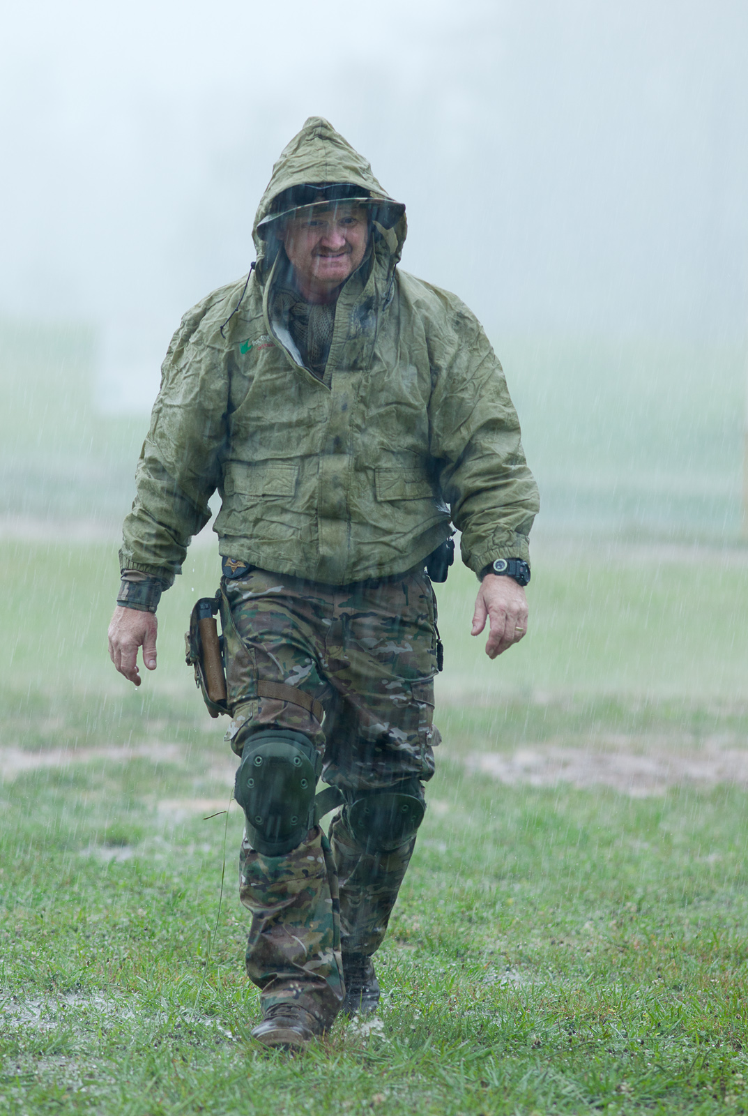 Instructor Denny in a downpour