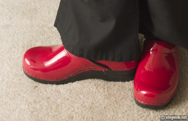 Red shoes, work-wear